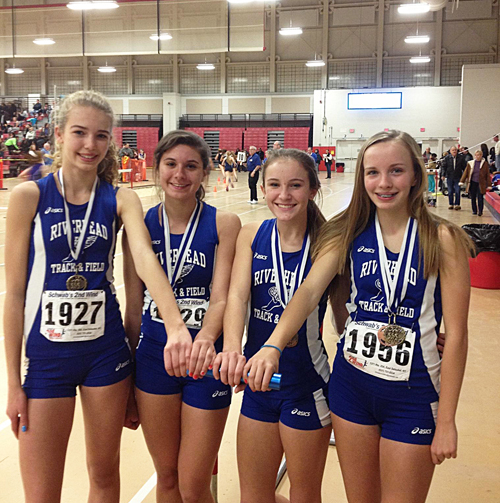 JUSTIN COBIS PHOTO  |  The Riverhead 4 x 800 relay team of (from left)  freshman Meghan Van Bommel, junior Rachel Conti, sophomore Maria Dillingham and freshman Megan Carrick won the League III title Saturday afternoon.