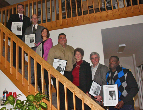 The Suffolk Times People of the Year included, from left, Mike Comanda (co-Person of the Year), David Gamberg (co-Person of the Year), Heather Lanza (Public Servant of the Year), Charlie Manwaring (Business Person of the Year) Doris and Ron McGreevy (Civic People of the Year) and Al Edwards (Educator of the Year). (Credit: Barbaraellen Koch)