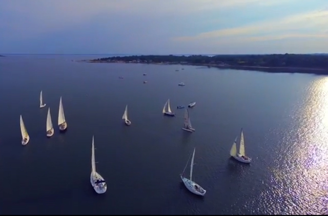 Andrew James Productions in Mattituck used a drone to capture this unique view of sailboat races around Robins Island.