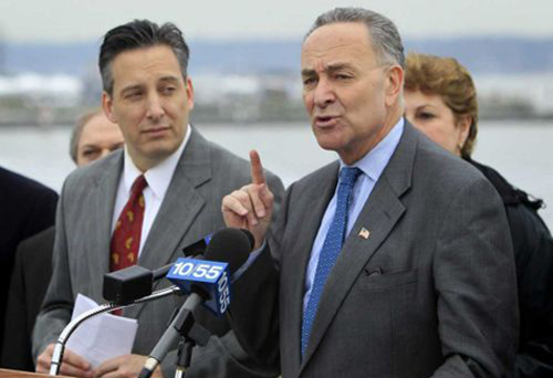 JOHN DUNN FILE PHOTO | Senator Charles Schumer at a news conference in Port Washington.