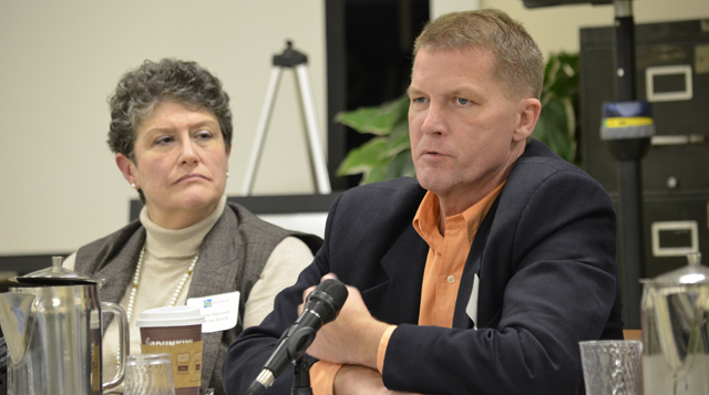 Southold Town Supervisor Scott Russell and Louise Harrison of Save the Sound at Tuesday's Plum Island forum. (Credit: Kelly Zegers)