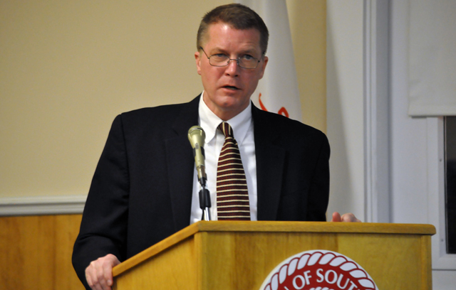 Scott Russell responds to questions following his State of the Town address earlier this month. (Credit: Grant Parpan, file)