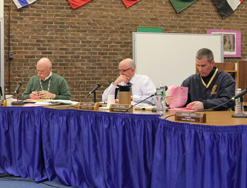 From left, Shoreham-Wading River school board members Mike Fucito, Robert Rose and  Sean Beran at Tuesday's meeting. (Credit: Jennifer Gustavson)