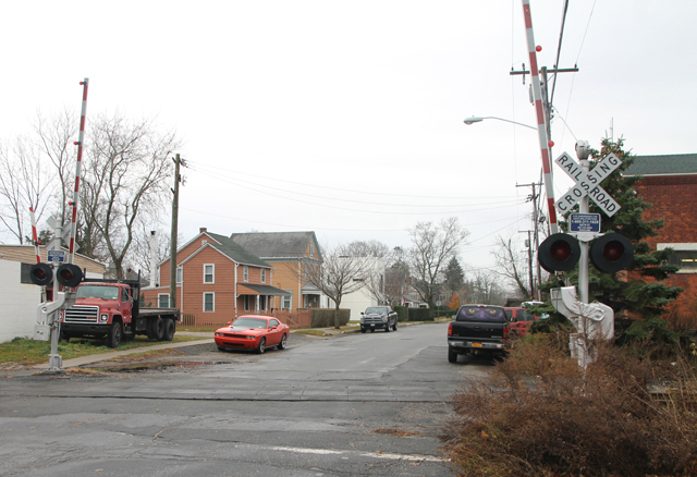 Sixth Street railroad crossing in Greenport