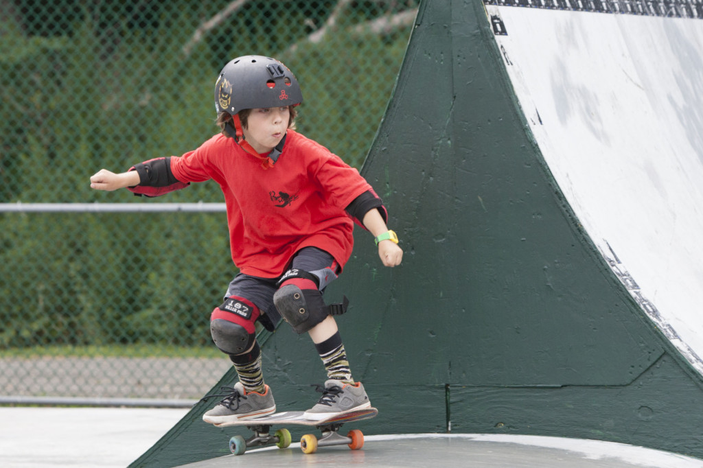 Logan Kirshak, 8, of Bellport at Greenport Village's skate park event Sunday. (Credit: Katharine Schroeder photos)