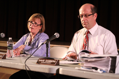 JENNIFER GUSTAVSON PHOTO | Southold school board president Paulette Ofrias, left, and Superintendent David Gamberg at Wednesday night's budget workshop