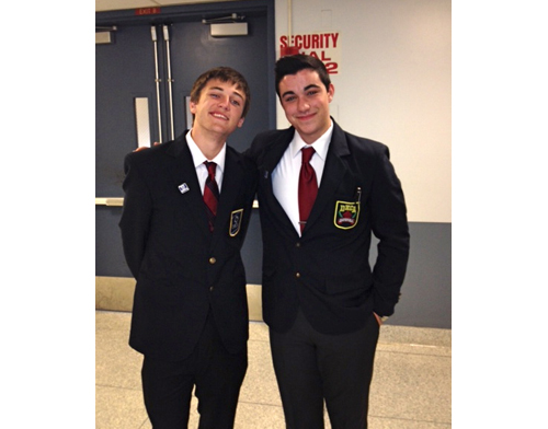 COURTESY PHOTO | Mattituck High School student Kevin Williams, left, and Southold High School student Will Tondo at the Jan. 8 DECA competition in Selden.