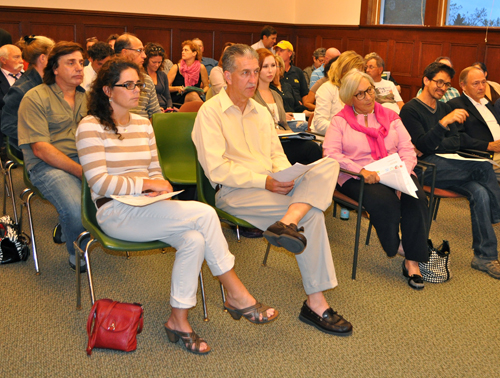 RACHEL YOUNG PHOTO | The audience listens as Joan Bischoff of the North Fork Promotional Council leads a forum Oct. 7 for Southold Town business owners on ways to extend the tourism season.