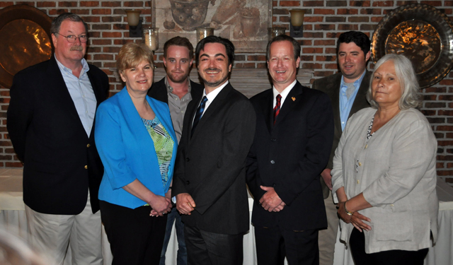 The Southold Town Democratic Committee's 2015 slate: (from left) Brian Hughes for Justice, Debra O'Kane for Town Board, Matt Kapell for Trustee, Damon Rallis for Supervisor, Albie de Kerillis for Town Board, Nick Krupski for Trustee and Linda Goldsmith for Assessor. (Credit: Grant Parpan)