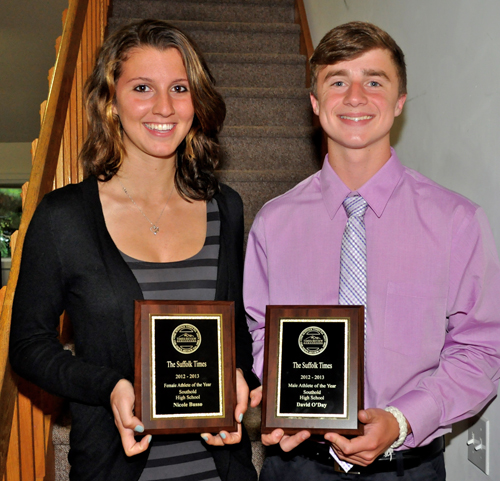 TIM KELLY PHOTO | Southold High School seniors Nicole Busso and David O'Day were among the recipients of Times/Review Newsgroup's athlete of the year awards.