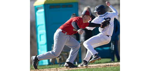 Stony Brook's Ben Walter steals second base while Southold second baseman Patrick McFarland applies the tag. (Credit: Garret Meade)