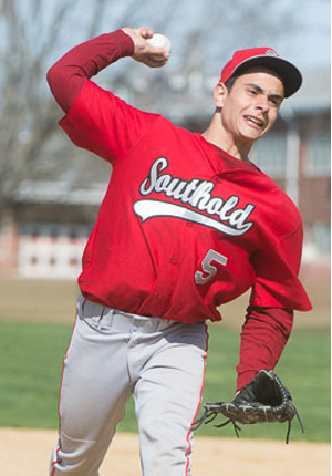 ROBERT O'ROURK PHOTO | Southold junior Anthony Fedele pitched a no-hitter with 12 strikeouts against Shelter Island on Monday.