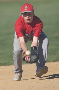 GARRET MEADE PHOTO | Southold second baseman Sean Moran keeping his eyes on a ground ball.