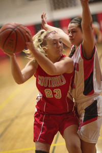 GARRET MEADE PHOTO | Southold senior Michaela Christman, who is tightly defended by Pierson/Bridgehampton's Abby Ruiz, sat out almost her entire junior season with a knee injury.