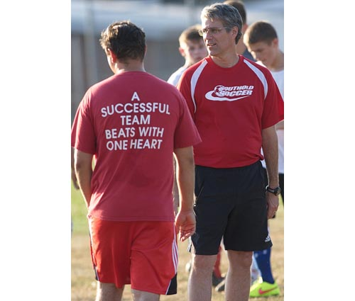 Southold coach Andrew Sadowski, right, with his former player and assistant coach Lucas Grigonis at a practice last year. (Credit: Garret Meade, file)
