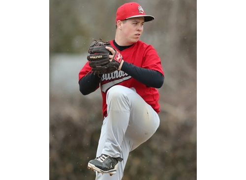 Southold's starting pitcher, Alex Poliwoda, allowed one earned run and five hits over five innings against Hampton Bays. (Credit: Daniel De Mato)