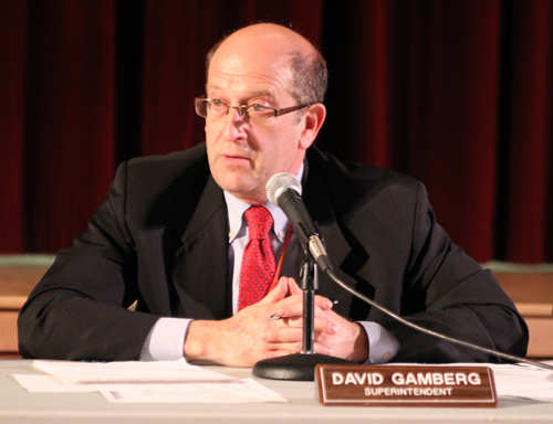 JENNIFER GUSTAVSON FILE PHOTO   Southold Union Free School District superintendent David Gamberg at a board of education meeting earlier this year.
