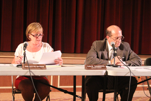 JENNIFER GUSTAVSON PHOTO | Southold school board president Paulette Ofrias, left, and Superintendent David Gamberg during Wednesday night's meeting. Ms. Ofrias read a resolution