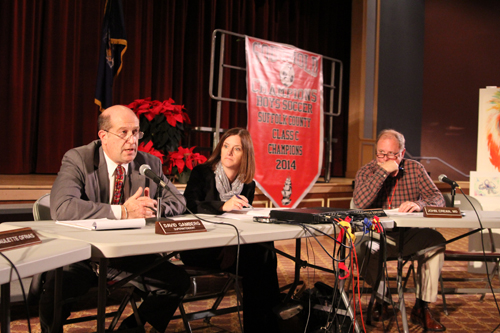 From left, Southold Superintendent David Gamberg, district clerk Patti DiGregorio and school board member John Crean at Wednesday's meeting. (Credit: Jen Nuzzo)