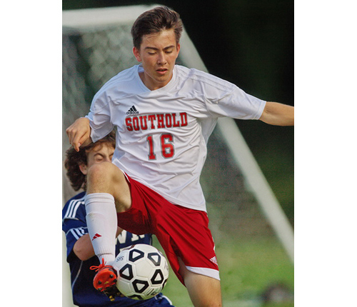 GARRET MEADE PHOTO | Kenji Fujita, a former goalkeeper turned field player, scored the only goal in Southold's win over Shoreham-Wading River.