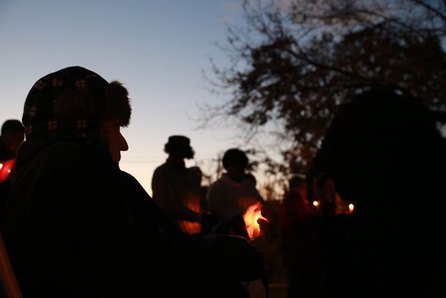 The 'Respect and Civility' candlelight vigil Sunday night in Southold. (Credit: Krysten Massa)