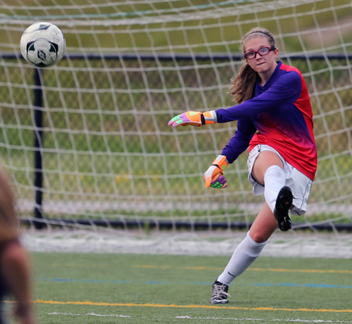 Southold/Greenport goalkeeper Haley Brigham taking a goal kick during last Thursday's game against Comsewogue at Diamond in the Pines. (Credit: Daniel De Mato)
