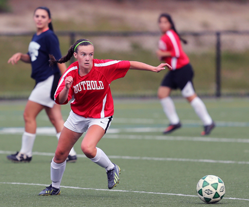 Senior midfielder Raeann Berry and her Southold/Greenport teammates sharpened their skills by playing in a summer league. (Credit: Daniel De Mato, file)