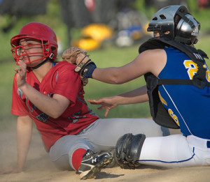 GARRET MEADE PHOTO | Southold/Greenport's Jessica Rizzo was tagged out at home plate by Mattituck catcher Brittany Tumulty for the game's final out.