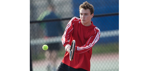 Southold/Greenport first doubles player Brian Hallock teamed with Will Richter for a two-set win in Riverhead on Tuesday. (Credit: Garret Meade)