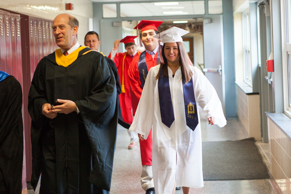 Heading up the hall toward graduation.