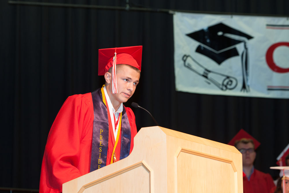 Valedictorian Aidan Walker gives his speech. (Credit: Katharine Schroeder)