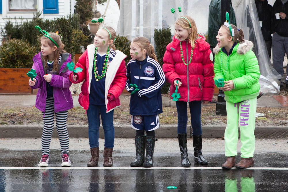 The rain didn't dampen everyone's spirits Saturday during the Cutchogue St. Patrick's Day parade. (Credit: Katharine Schroeder)