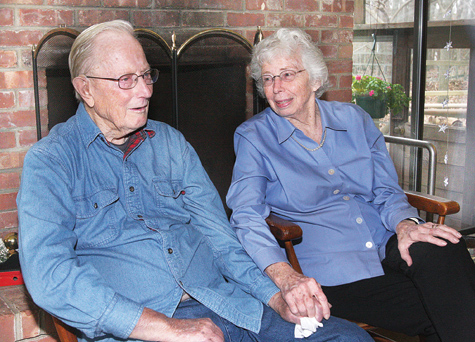Paul and Barbara Stoutenburgh being interviewed in their Cutchogue home in 2011. (Credit: Barbaraellen Koch, file)