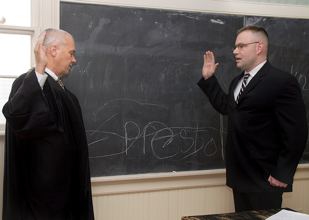 Jack Martilotta is sworn in as a Village Trustee last year. (Credit: Paul Squire, file)