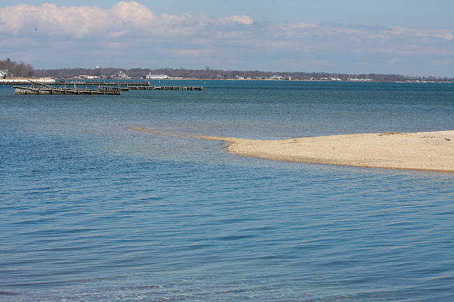 A sandbar juts into Peconic Bay at the end of Pine Neck Road in Southold. (Credit: Barbaraellen Koch)