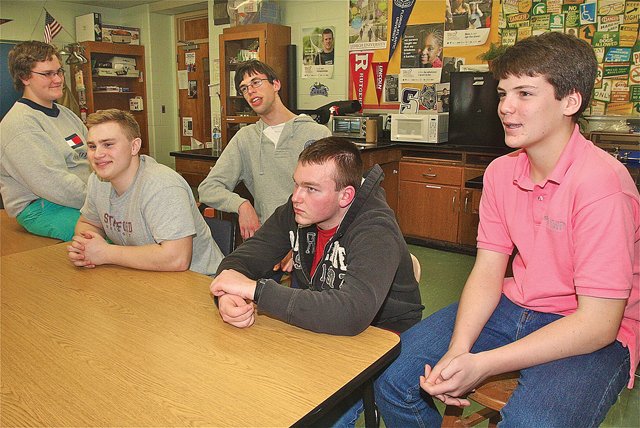 From left: Mattituck Best Buddies chapter president Chris Massey, vice president Michael Goodale, director Nick Mele, Ben Hinsch and treasurer Ryan Shuford. (Credit: Barbaraellen Koch)