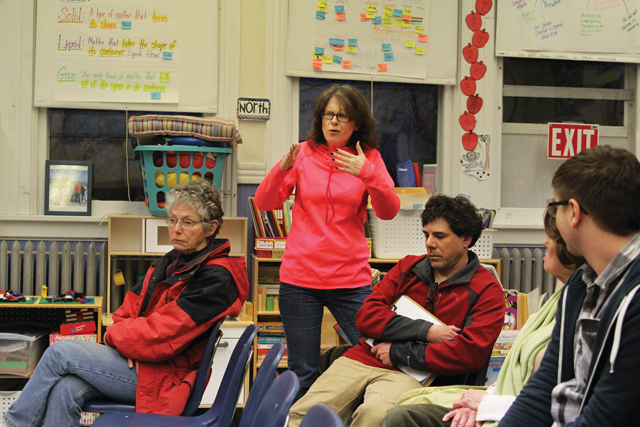 New Suffolk parent Mary Steinfeld expresses concern during the district's meeting Tuesday night.  (Credit: Jen Nuzzo)