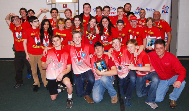 Southold Robotics celebrates its invitation to the FIRST Robotics world championship later this month. (Credit: PRMG New York)