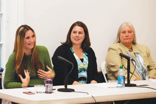 KATHARINE SCHROEDER PHOTO   Krista de Kerillis, (from left) Alison Lyne and Linda Goldsmith take questions at the Meet the Candidate gathering on Monday in Orient.