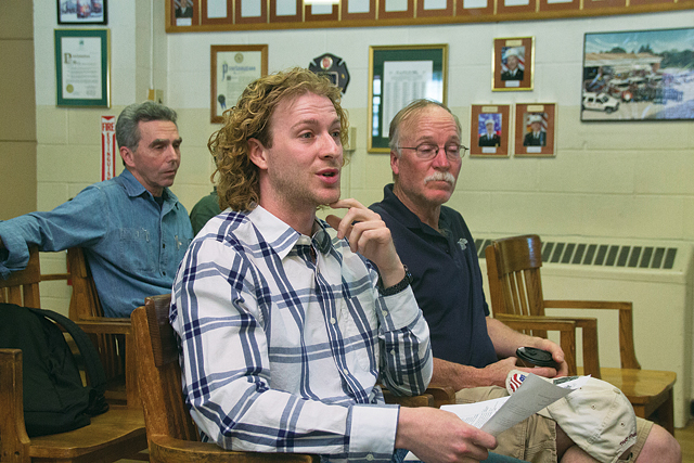 Shaka Flyboarding owner and operator Brian Carrick explains the details of his new company to the Greenport Planning Board last week. (Credit: Paul Squire)