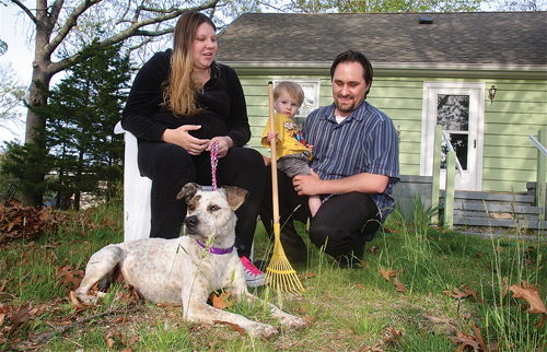 After he was missing for six months, Charlie was reunited at home in Mattituck with Kayla and Greg Masem and 18-month-old Wyatt. (Credit: Barbaraellen Koch)