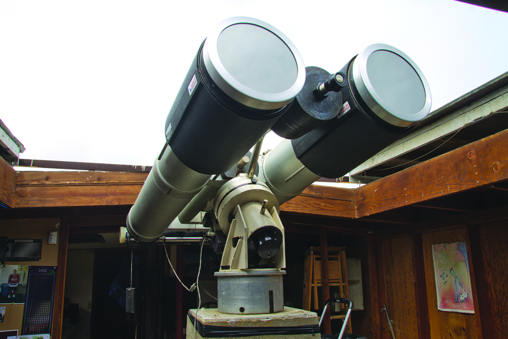 "Alarico ""Rico"" Verticchio's giant refracting telescope — a 'monster' pair of binoculars — has been donated to the Custer Institute and Observatory in Southold (Credit: Paul Squire)"
