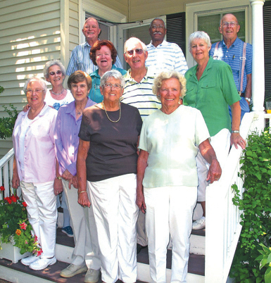 Members of Southold High School's Class of 1951 got together for a weekend of activities earlier this month to celebrate their 60-year reunion. Thirteen of the class' 30 graduates were on hand for at least one of the planned events. Back row, from left: Graham Glover, Harold Avent, Chet Albertson; second row: Audrey Petty Reinhardt, Maureen Stevens Turner, John Simon, Peggy Fischer Murphy; front row: Barbara Ulrich Davids, Cynthia Knight Mellas, Janis Dickerson Krise and Joan Smith Haupt. Not pictured: Dave Case and Ernie Case. A donation was made to Southold Free Library in memory of C. Bruce Staiger, a favorite teacher and mentor.