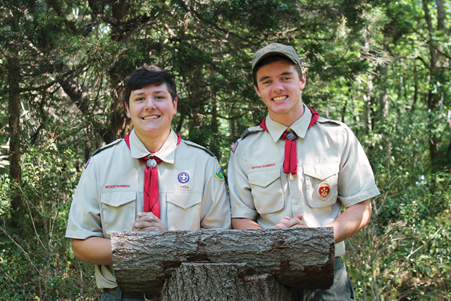 David Gammon (left) and Walker Sutton at Down's Farm Preserve in Cutchogue, where they recently completed their Eagle Scout projects. (Credit: Sara Schabe)
