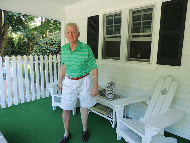 George Sullivan on his front porch in Southold in August 2014. (Credit: Claire Leaden)