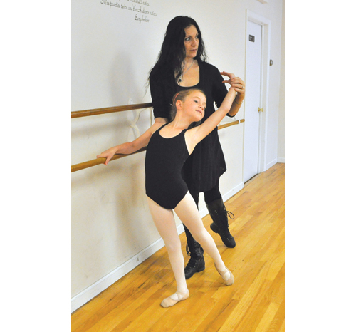 Aela works with her ballet instructor, Cheryl Kiel, at Mo Chuisle Moya Strast School of Dance in Mattituck last week. (Credit: Rachel Young)
