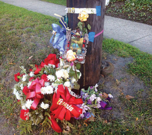 RACHEL YOUNG PHOTO | A makeshift memorial has been placed at the scene of the crash.