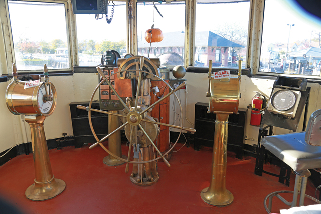 One of the mostly restored sections of the Fire Fighter, the room where the captain would steer the boat. (Credit: Krysten Massa)