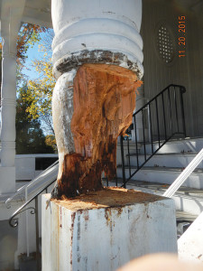 Once Mr. Tillman began destroying the original column, the degree of wood rot became even more clear in late November (see below photo).