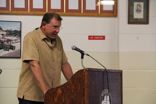 CARRIE MILLER PHOTO   Greenport landlord Robert Jarosak spoke out against the proposed rental law Monday.